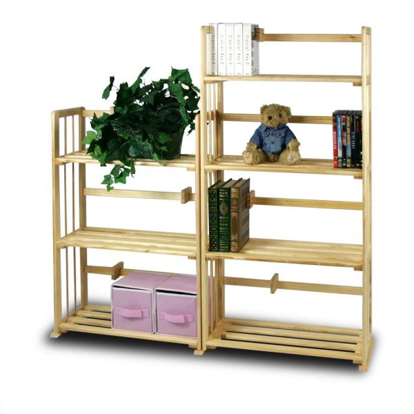 Furinno Pine Natural Color Solid Wood 4-Shelf Open Bookcase