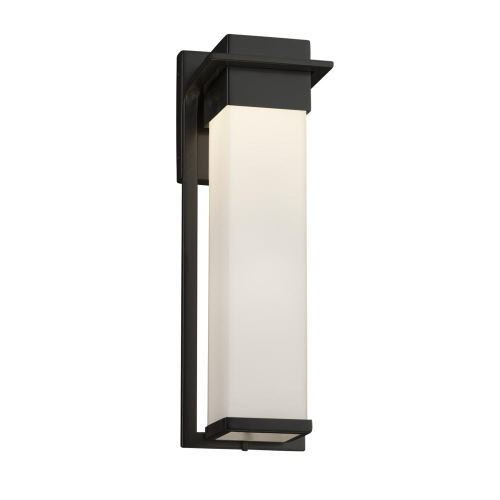 Justice Design Fusion Pacific Large Matte Black LED Outdoor Wall Sconce with Opal Shade