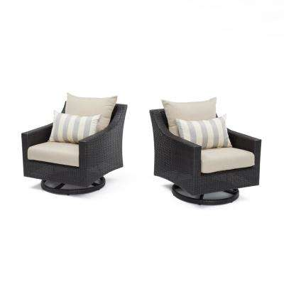 Deco All-Weather Wicker Motion Patio Lounge Chair with Slate Grey Cushions (2-Pack)