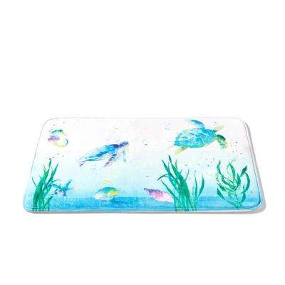 20 in. x 30 in. Multi Watercolor Ocean Polyester Bath Rug