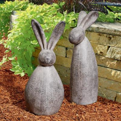 Big Burly Bunny Rabbit Stan and Oliver Statue Set (2-Piece)