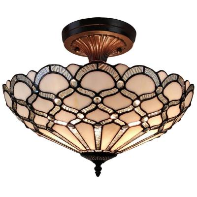 2-Light Tiffany Style White Ceiling Lamp with Glass Shade
