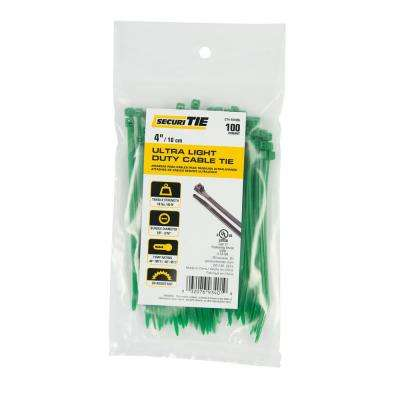4 in. Ultra Light Duty Cable Tie, 18 lb. Tensile, Green, 100-Pack (Case of 10)