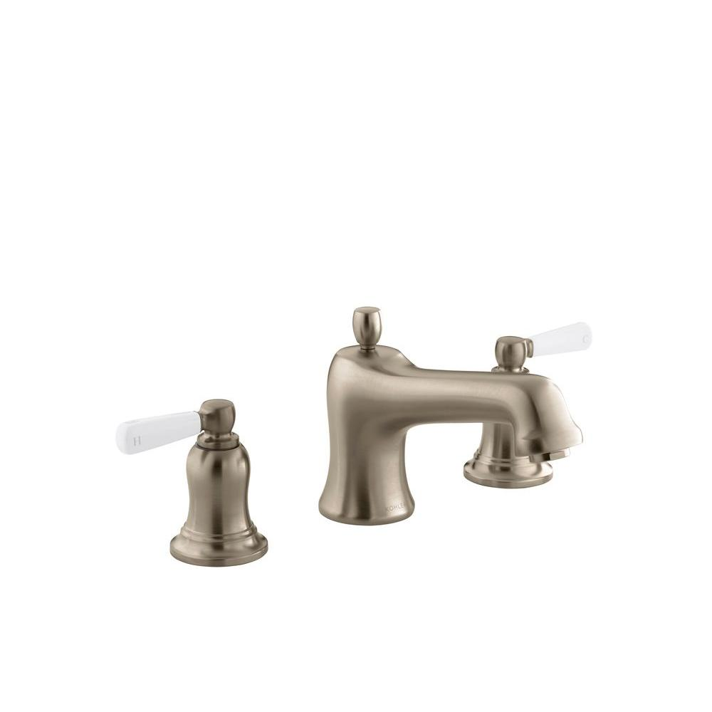 KOHLER Bancroft Deck-Mount Bath Faucet Trim with White Ceramic Lever Handles in Vibrant Brushed Bronze (Valve Not Included)