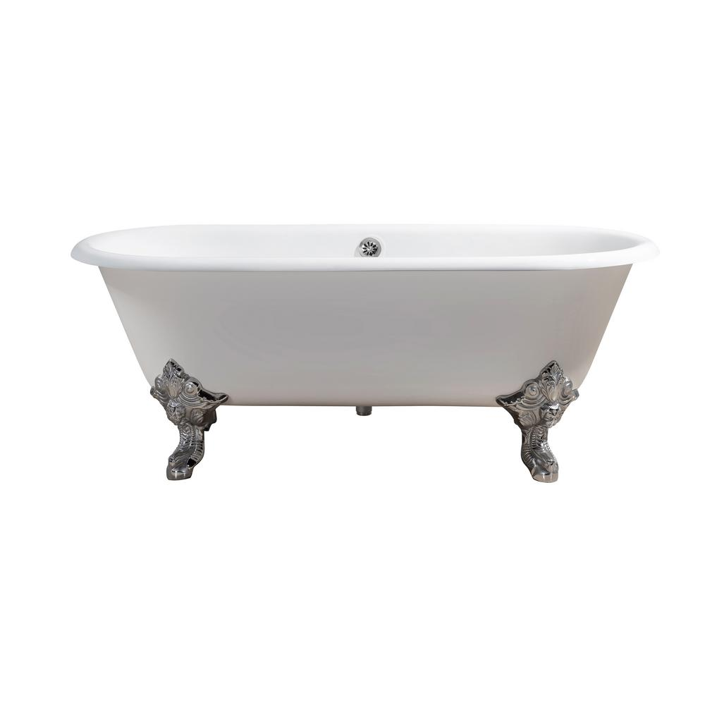 StreamLine 68.9 in. Cast Iron Clawfoot Non-Whirlpool Bathtub in ...