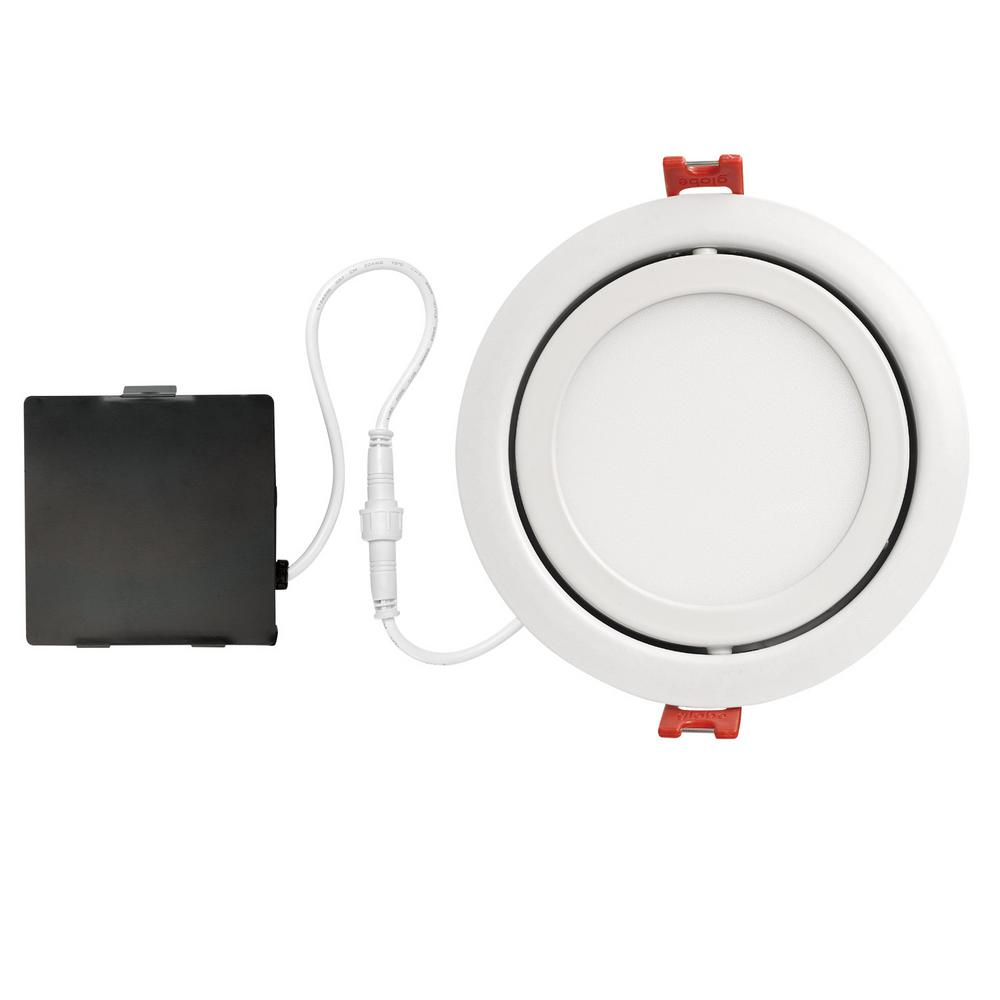 Globe Electric Slimline Swivel 4 in. White Finish Integrated LED Recessed Kit