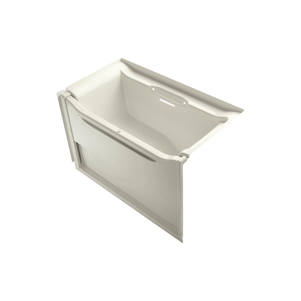 KOHLER Elevance 5 ft. Alcove Rectangular Acrylic Right Drain Rectangle Alcove Non-Whirlpool Bathtub in Biscuit