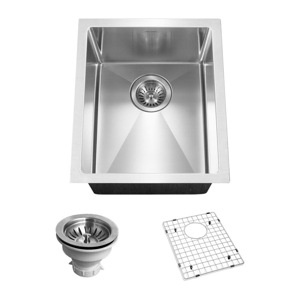 HOUZER Savoir Series Undermount Stainless Steel 12 in. Single Bowl ...