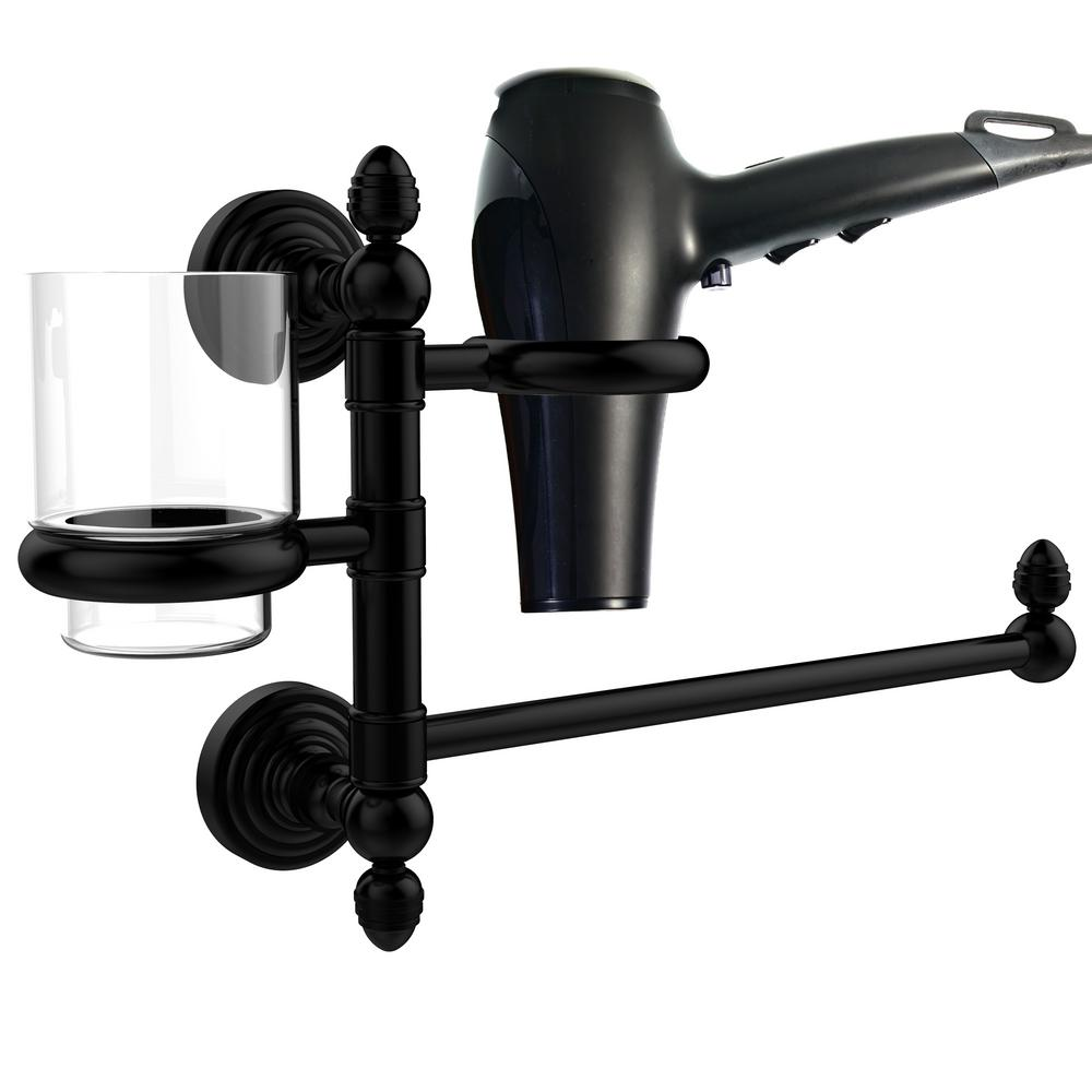 Allied Brass Waverly Place Collection Hair Dryer Holder and Organizer in Matte Black