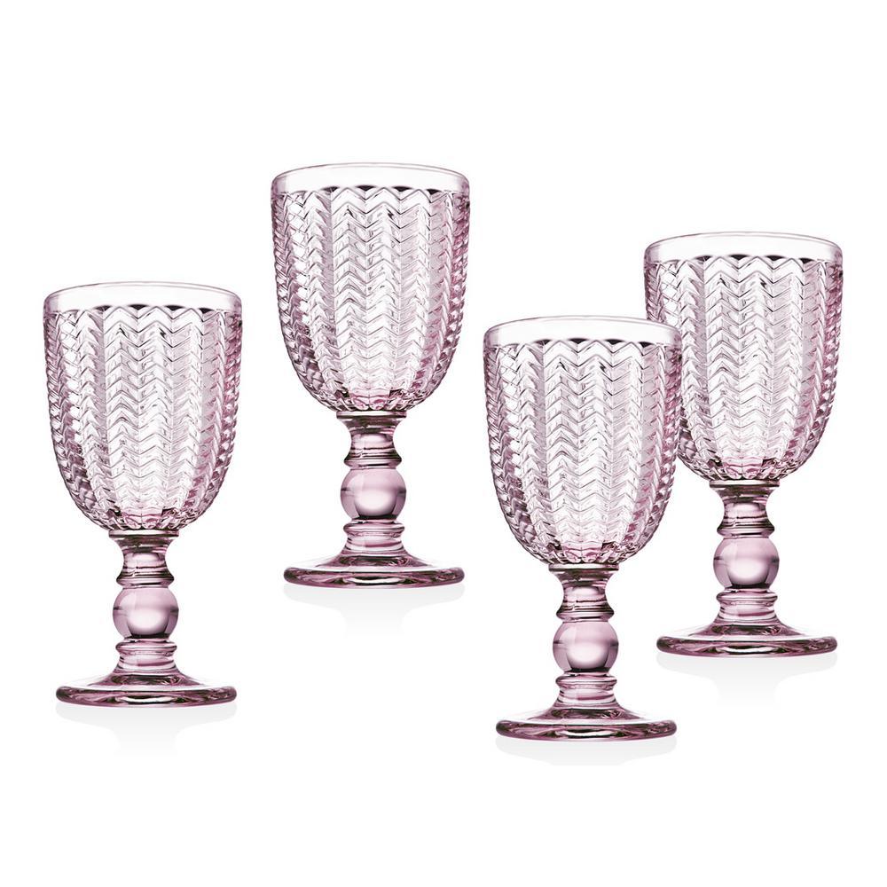 Twill 6 oz. Pink White Wine Glasses (Set of 4)