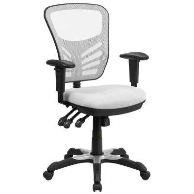 Mid Back White Mesh Swivel Task Chair With Triple Paddle Control