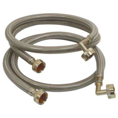 4 ft. Polymer Coated Stainless Steel Washing Machine Connector (2-Pack)