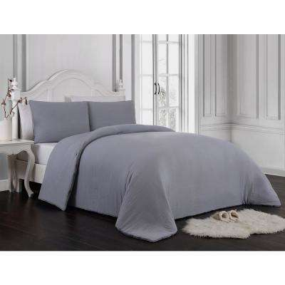 Gweneth 3-Piece Enzyme Washed Gray King Solid Comforter Set