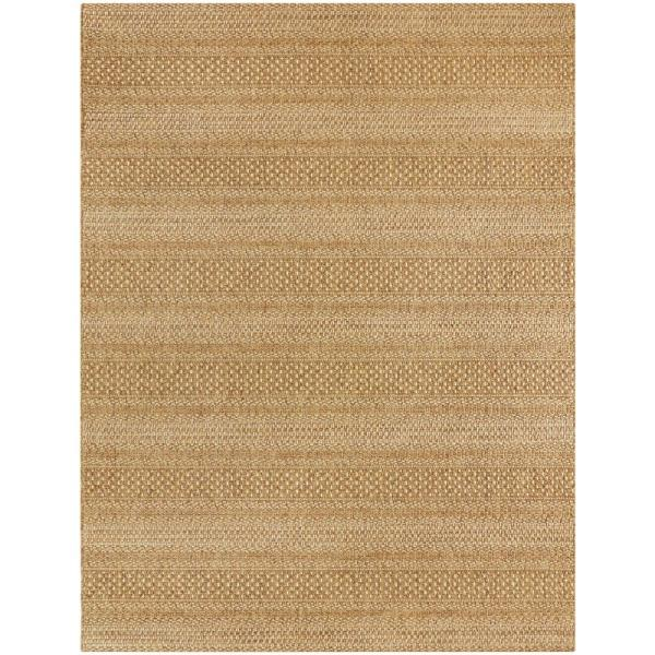 Natural Tan 8 ft. x 10 ft. Striped Indoor/Outdoor Area Rug