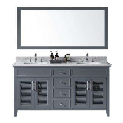 Elise 60 in. W x 22 in. D x 34.21 in. H Bath Vanity in Cashmere Grey With White Marble Top With White Basins and Mirror