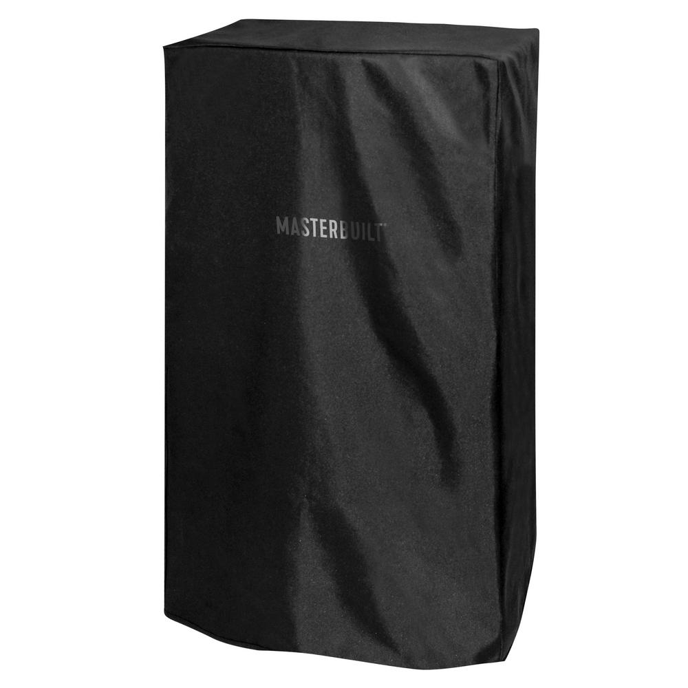 Masterbuilt 38 in. Electric Smoker Cover, Black Protect your Masterbuilt Digital Electric Smoker with this cover. The durable, polyurethane-coated cover protects your smoker from the elements year-round. Its weather-resistant and resists fading. Master the art of smoking with Masterbuilt. Color: Black.