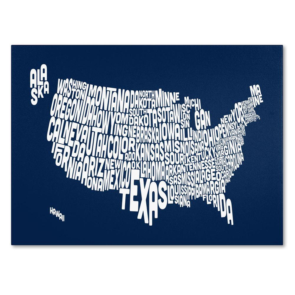 null 14 in. x 19 in. USA States Text Map - Navy Canvas Art