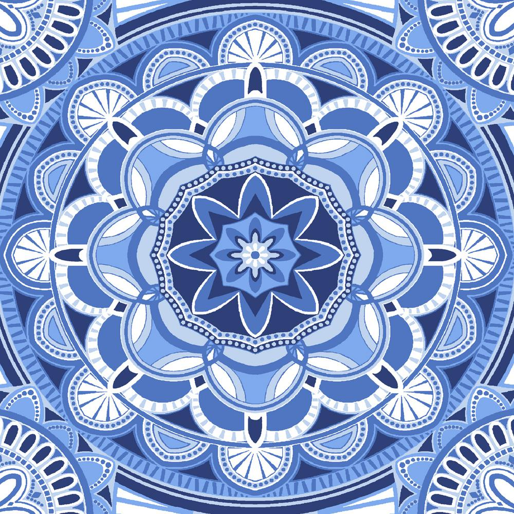 Hampton Bay 20 X 19 Outdoor Chair Cushion In Standard Periwinkle Medallion