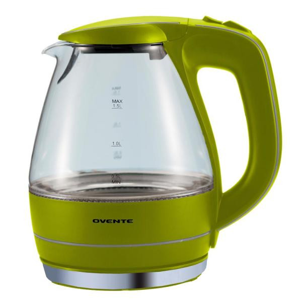Ovente Illuminated 6.5-Cup Green Cordless Electric Kettle with Filter KG83G