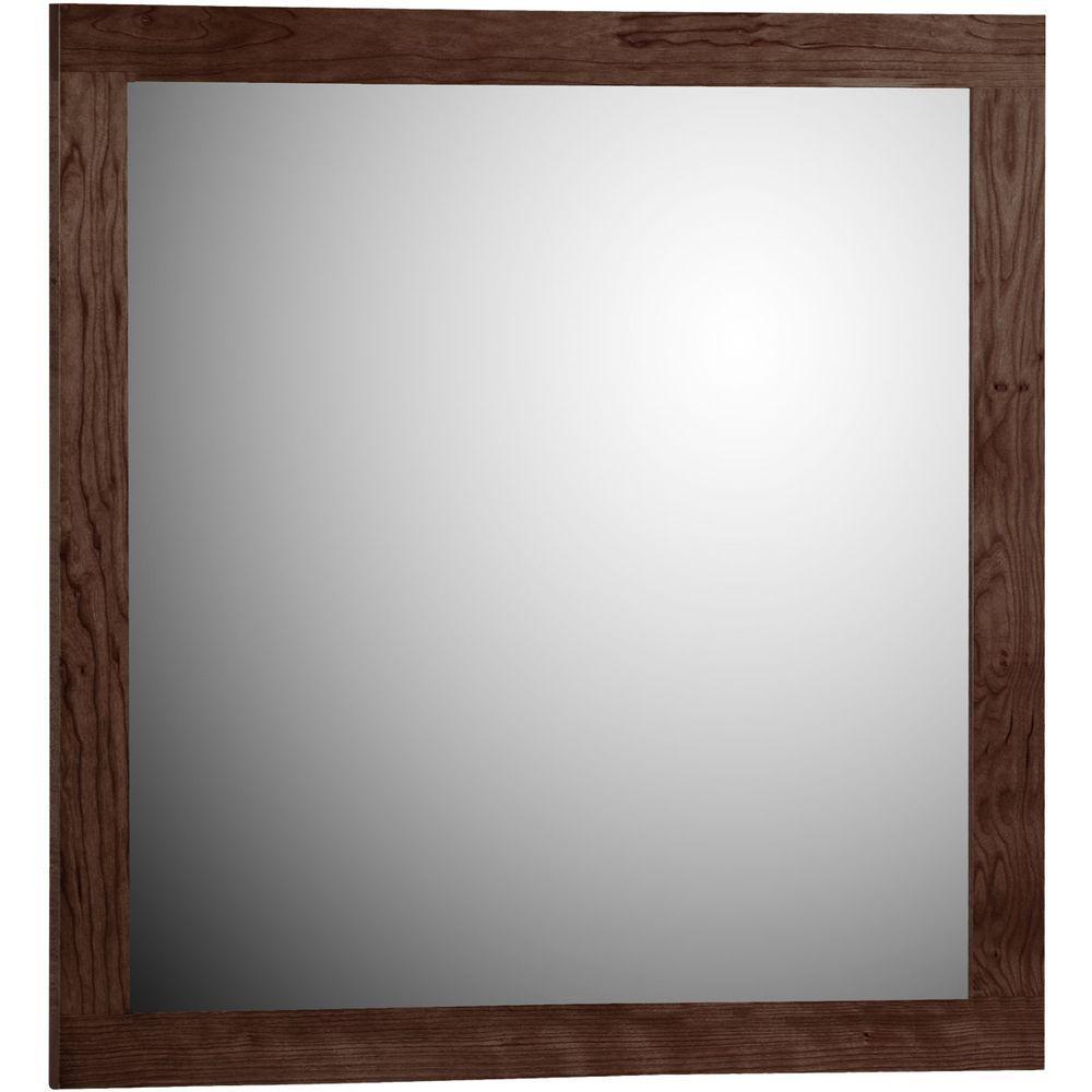 Shaker 30 in. W x 32 in. H Framed Rectangular Bathroom Vanity Mirror in dark alder