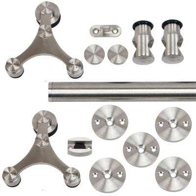 96 in. Stainless Steel Triangle Strap Rolling Door Hardware Kit for Wood or Glass Door