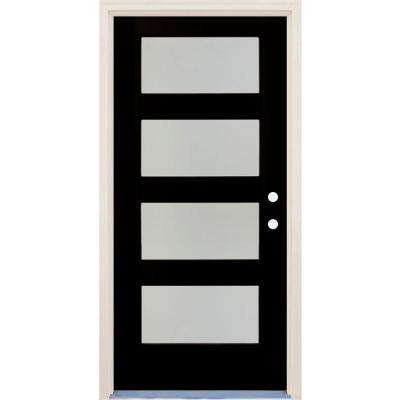 36 in x 80 in Elite Inkwell LH 4 Lite Satin Etch Glass Contemporary Painted Fiberglass Prehung Front Door w/ Brickmould