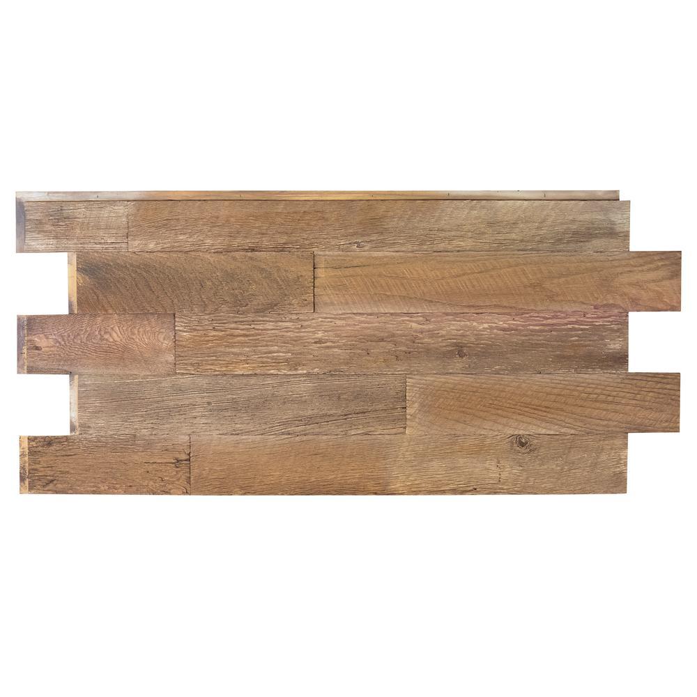 Superior Faux Barnwood Panel 1-1/4 in. x 52-1/4 in. x 23 in. Steakhouse Polyurethane Interlocking Panel