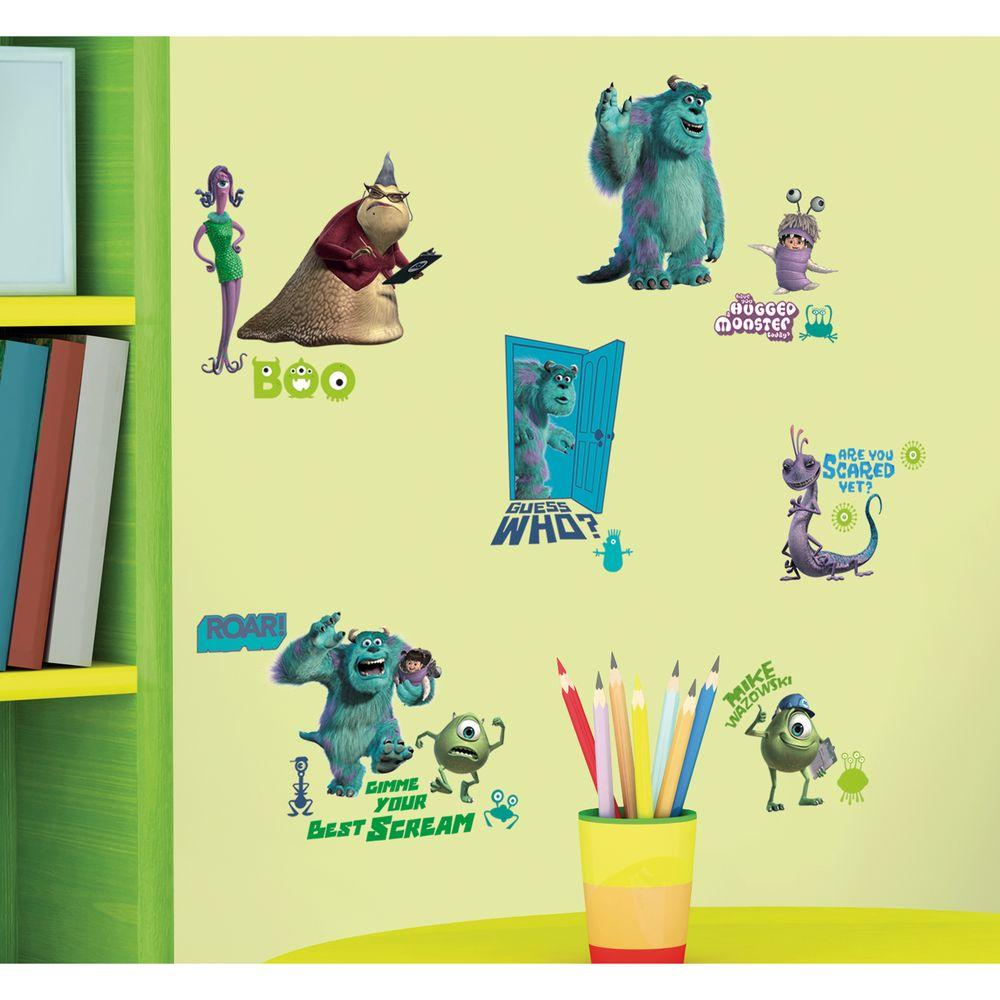 10 in. x 18 in. Monsters Inc 31-Piece Peel and Stick Wall Decals ...