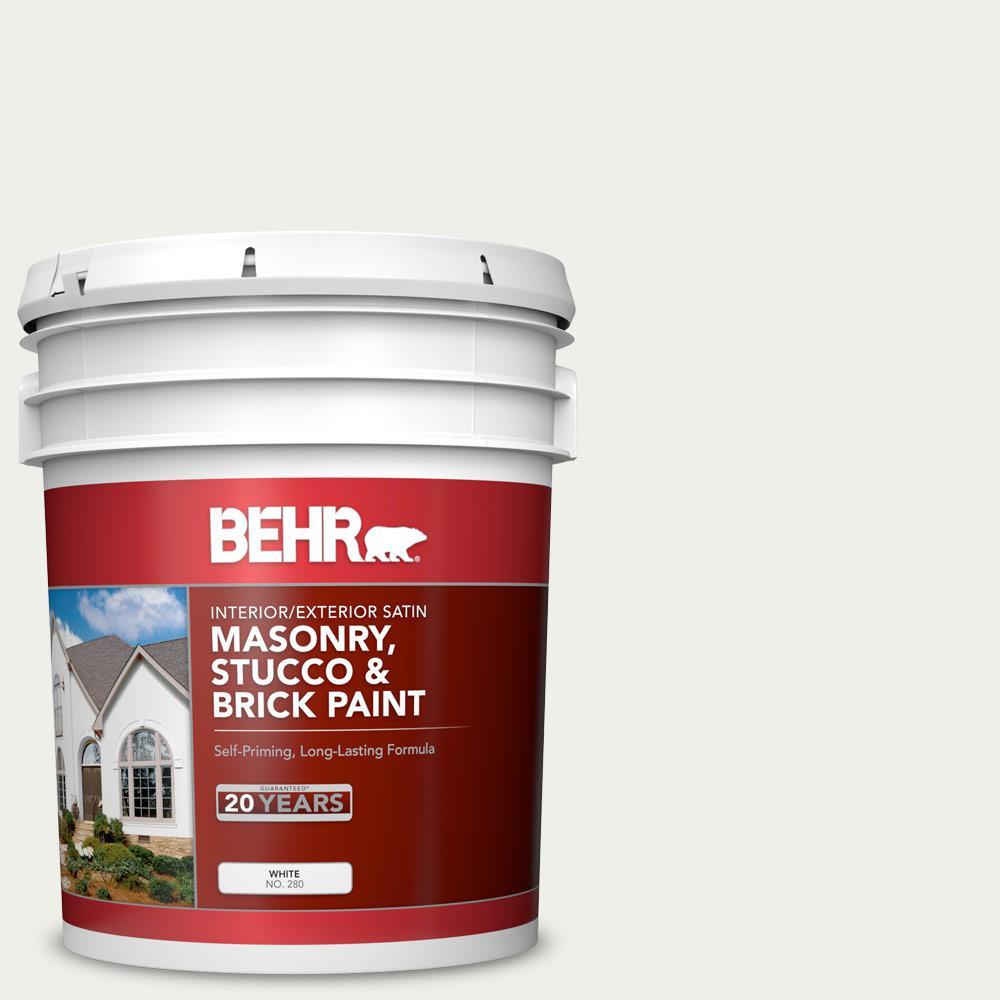 5 gal. #MS-39 Crystal White Satin Interior/Exterior Masonry, Stucco and Brick Paint