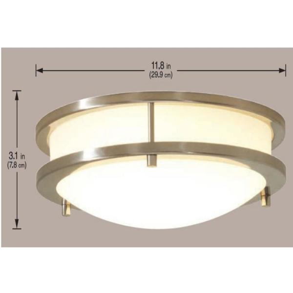 Hampton Bay Flaxmere 11 8 In Brushed Nickel Led Flush Mount Ceiling Light With Frosted White Glass Shade Hb1023c 35 The Home Depot