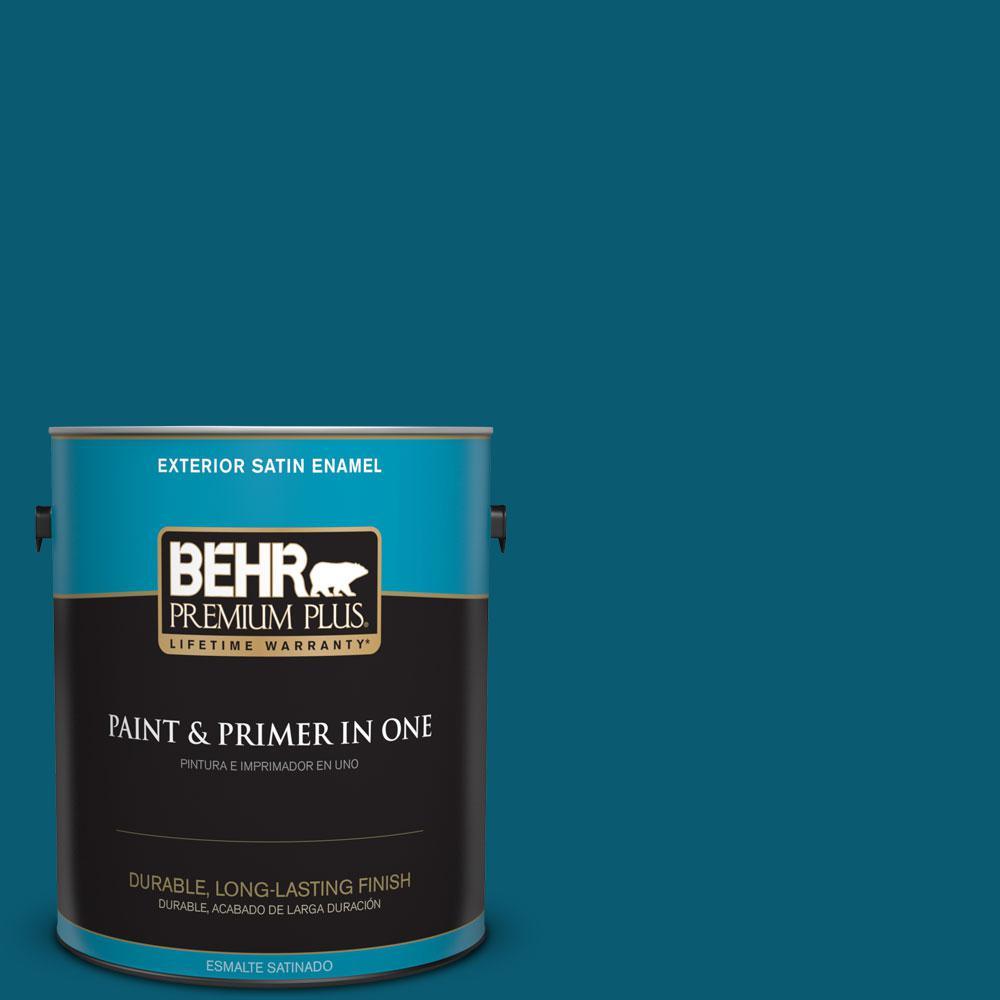1-gal. #540D-7 Deep Blue Sea Satin Enamel Exterior Paint
