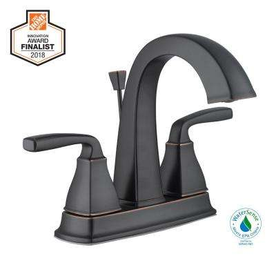 Mason 4 in. Centerset 2-Handle High-Arc Bathroom Faucet in Bronze
