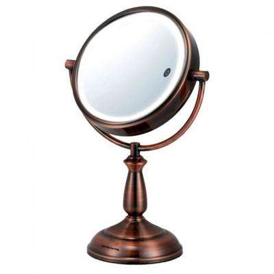 Antique Copper Dual-Sided LED Lighted Makeup Mirror with Timer Battery or Cord Operated, Smart Touch with 3 Light Tones