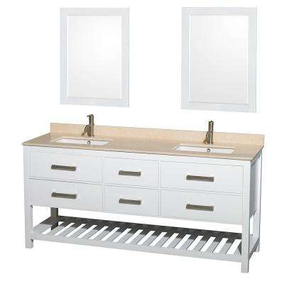 Natalie 72 in. Double Vanity in White with Marble Vanity Top in Ivory, Under-Mount Square Sinks and 24 in. Mirrors
