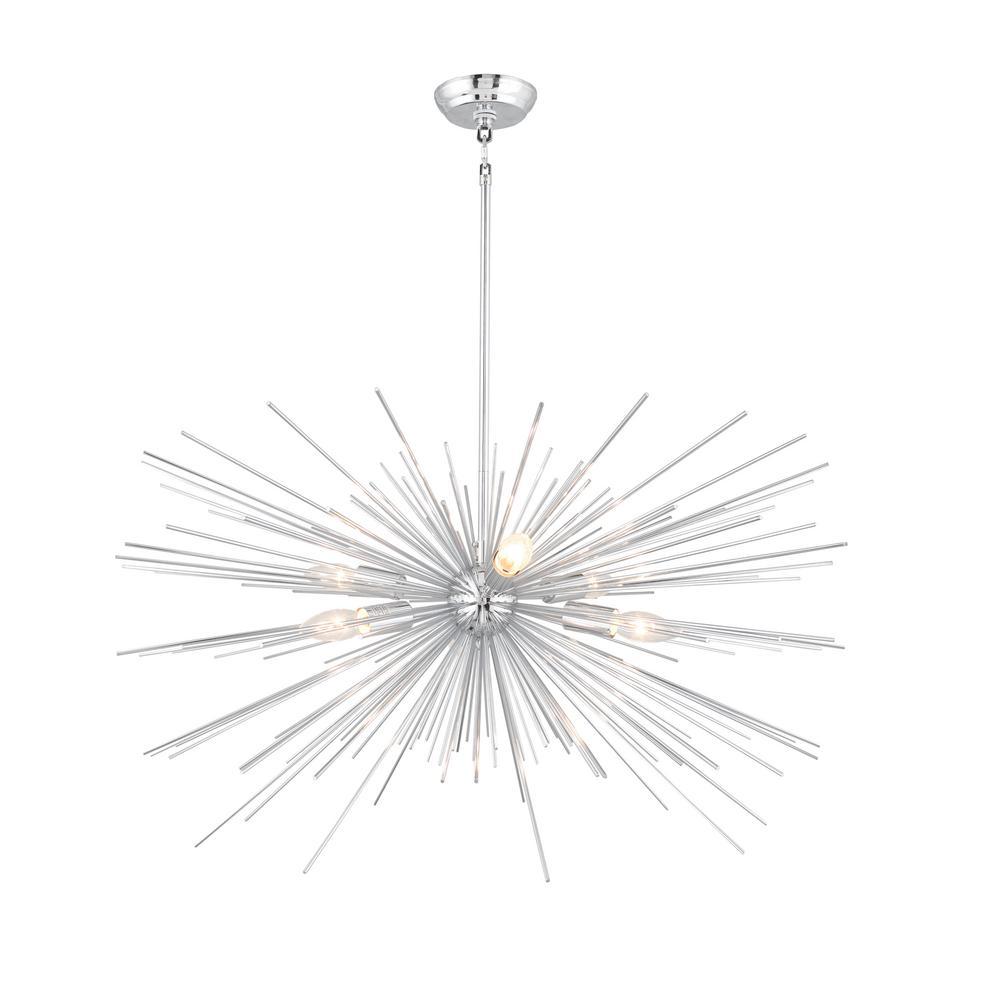6-Light Chrome Assembled Sputnik Chandelier