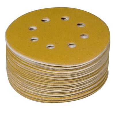 6 in. 8-Hole 120-Grit Hook and Loop Sanding Discs in Gold (50-Pack)
