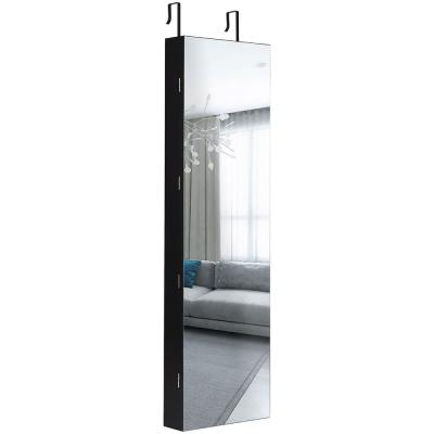 Black Mirrored Wall Jewelry Cabinet with LED Lights