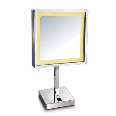 Square 8 in. x 14-3/4 in. Freestanding Framed Freestanding LED Mirror in Polished Chrome with 5X Magnification