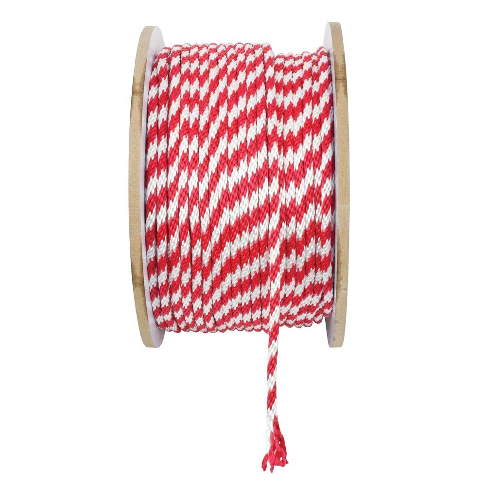 3/8 in. x 1 ft. White and Red Solid Braid Polypropylene