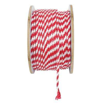 3/8 in. x 1 ft. Polypropylene Solid Braid Rope, White and Red
