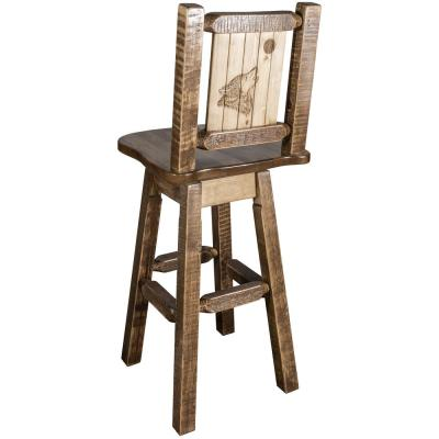 Homestead Collection 30 in. Early American Laser Engraved Wolf Motif Bar Stool with Swivel Seat and Back