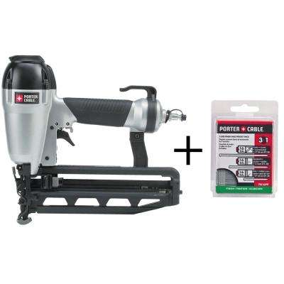 Pneumatic 16-Gauge 2-1/2 in. Nailer Kit with Bonus 16-Gauge Finish Nail Project Pack (900 per Box)