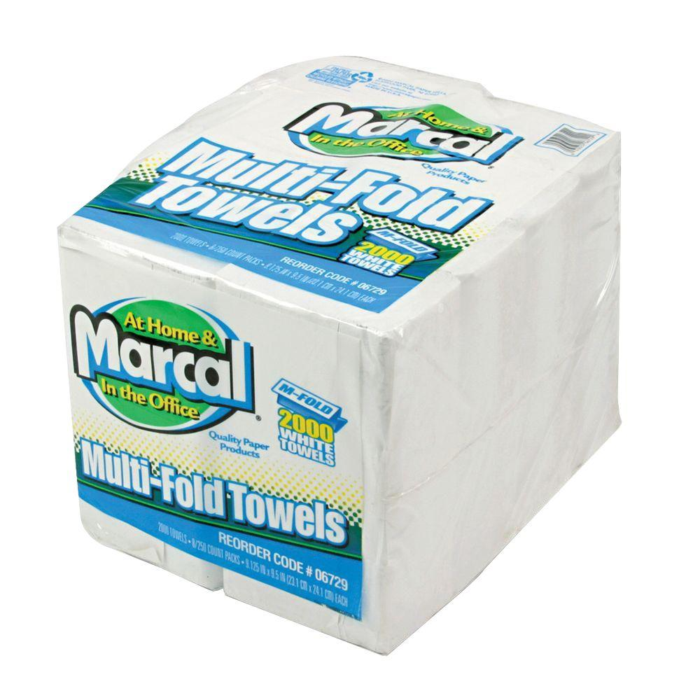 Marcal Embossed White Multi-Fold Paper Towel (8-Pack)