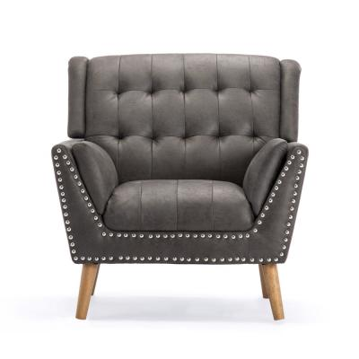 Delia Contemporary Tufted Slate Microfiber Club Chair with Nail Head Accents