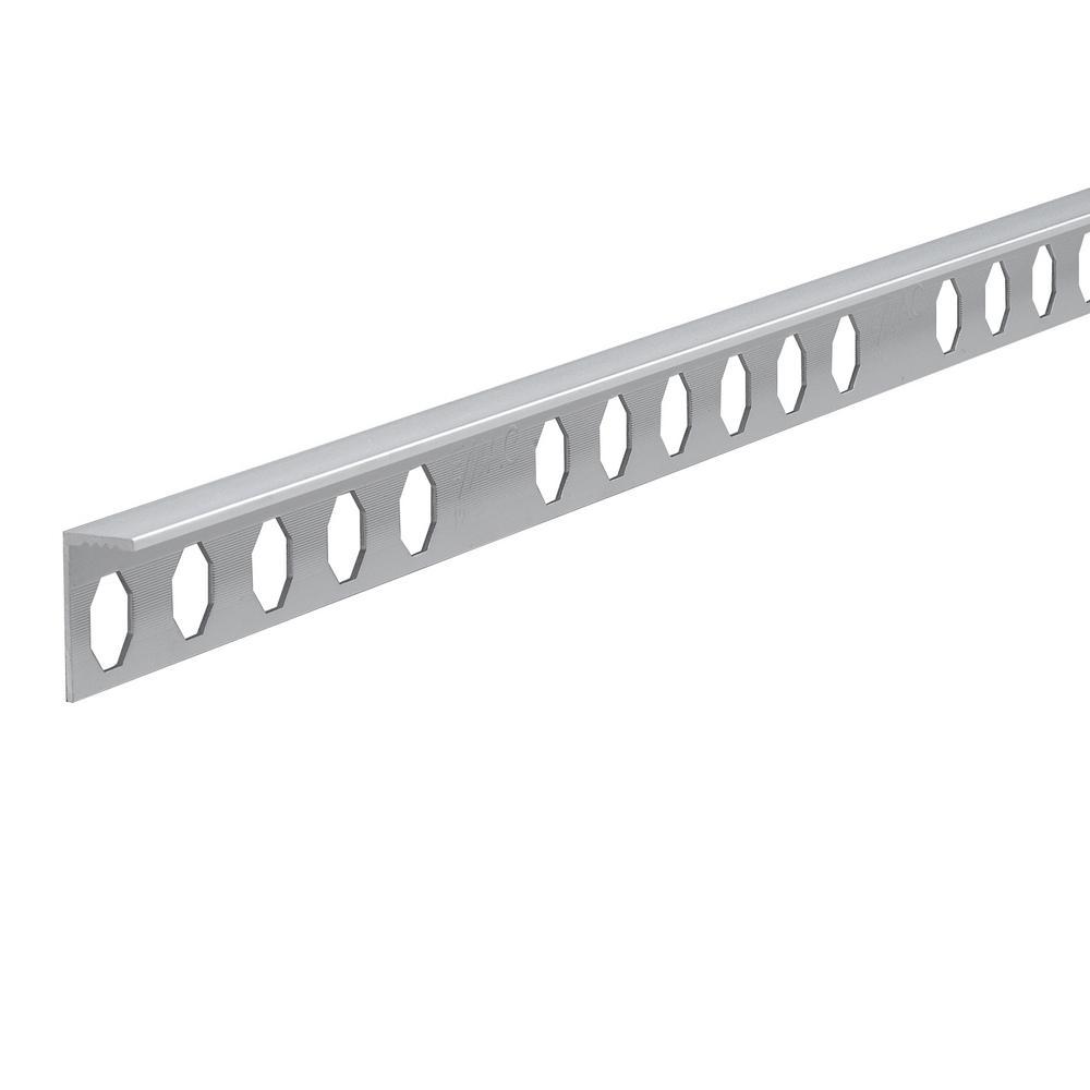 Novosuelo Matt Silver 3/8 in. x 98-1/2 in. Aluminum Tile Edging Trim