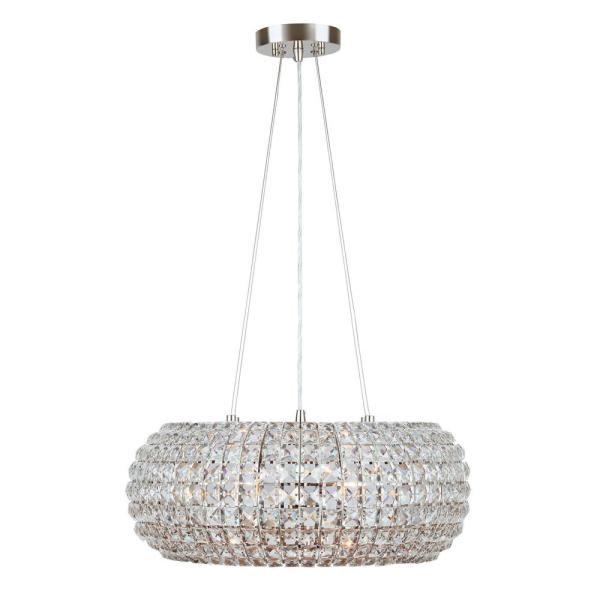 Beatrice 4-Light 20 in. Polished Nickel Crystal Pendant