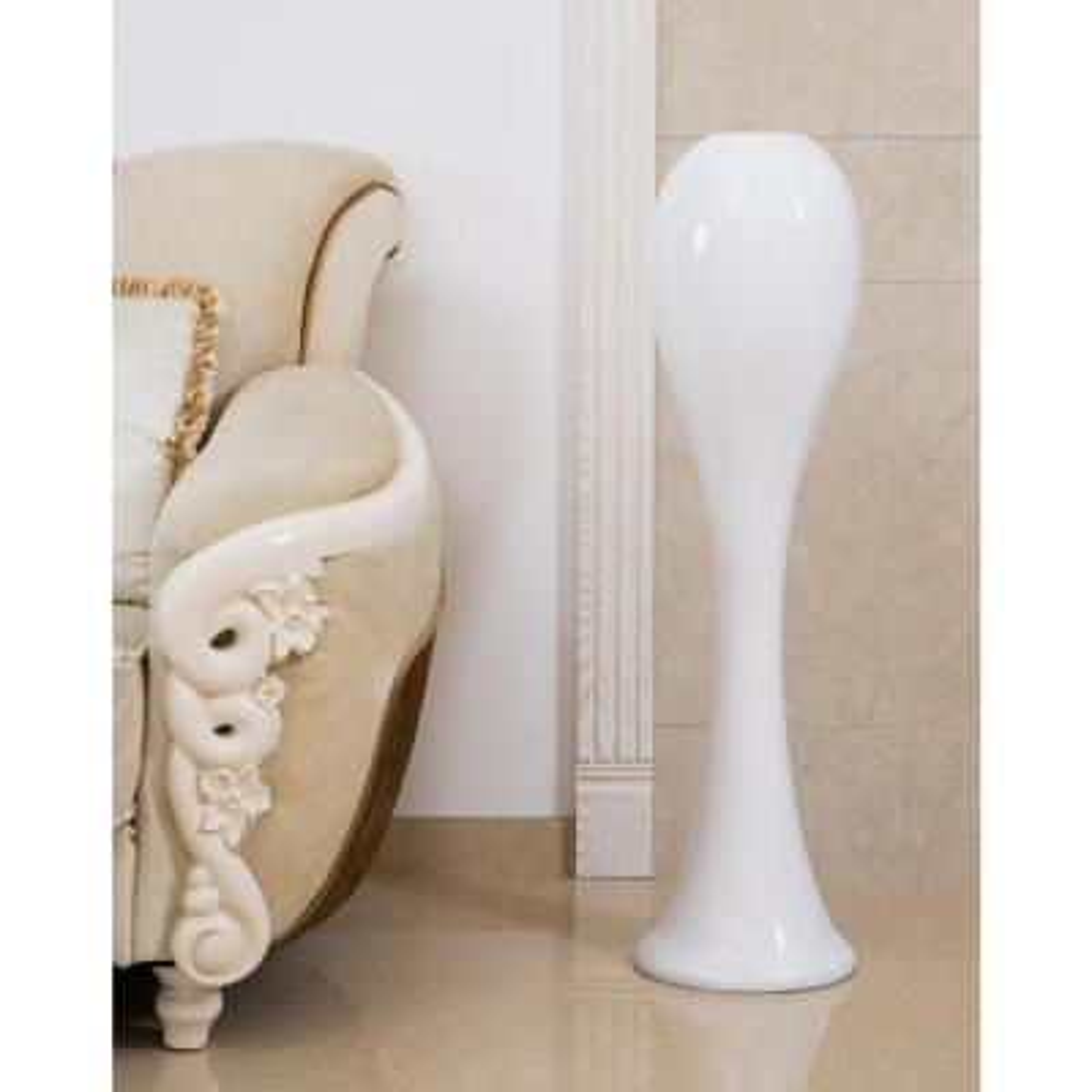 39 in. White Narrow Unique Fiberglass Tall Modern Floor Vase, Party Events Centerpiece Vase