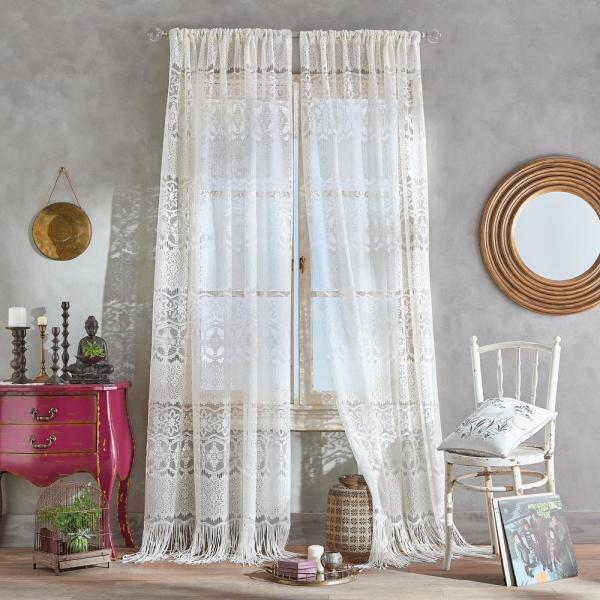 Boho Lace Light Filtering 50 in. W x 95 in. L Rod Pocket Curtain Panel in Ivory