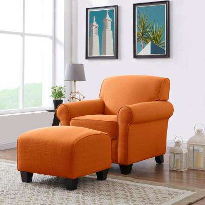 Winnetka Arm Chair and Ottoman in Orange Linen