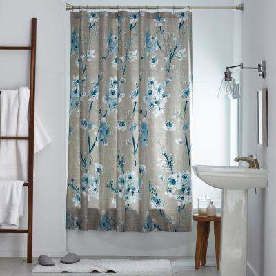 Keiko Floral 72 in. Multicolored Wrinkle-Free Sateen Shower Curtain